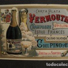 Etiquetas antiguas: ETIQUETA VERMOUTH - CHAMPAGNE - DEL PINO - JEREZ DE LA FRONTERA -VER FOTOS - (V-9630). Lote 79320001