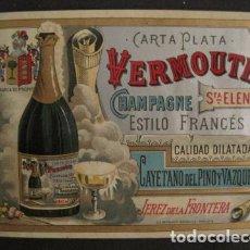Etiquetas antiguas: ETIQUETA VERMOUTH - TAMAÑO GRANDE- CHAMPAGNE - DEL PINO - JEREZ DE LA FRONTERA -VER FOTOS - (V-9631). Lote 79320217