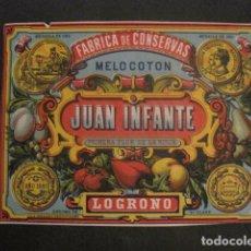 Etiquetas antiguas: JUAN INFANTE -CONSERVAS- LOGROÑO -ETIQUETA MELOCOTON -VER FOTOS Y MEDIDAS-(V-9806). Lote 80229489