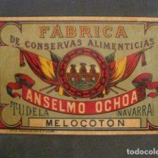Etiquetas antiguas: ANSELMO OCHOA -CONSERVAS- TUDELA -ETIQUETA MELOCOTON -VER FOTOS Y MEDIDAS-(V-9807). Lote 80229617