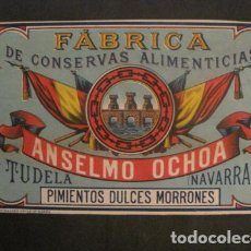 Etiquetas antiguas: ANSELMO OCHOA -CONSERVAS- TUDELA -ETIQUETA PIMIENTOS -VER FOTOS Y MEDIDAS-(V-9808). Lote 80229709
