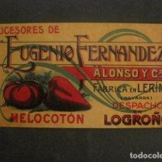 Etiquetas antiguas: EUGENIO FERNANDEZ -CONSERVAS- LERIN Y LOGROÑO -ETIQUETA MELOCOTON -VER FOTOS Y MEDIDAS-(V-9810). Lote 80230469