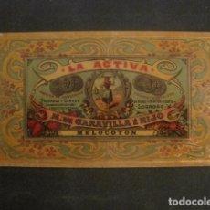 Etiquetas antiguas: LA ACTIVA -CONSERVAS- LOGROÑO -ETIQUETA MELOCOTON -VER FOTOS Y MEDIDAS-(V-9812). Lote 80230977