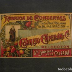 Etiquetas antiguas: CORNEJO CAPELLAN-CONSERVAS-SANTO DOMINGO DE LA CALZADA-ETIQUETA MELOCOTON-VER FOT Y MEDIDAS-(V-9814). Lote 80231409