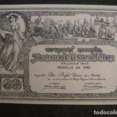 Etiquetas antiguas: RAFAEL CORREA - PALENCIA - EXPOSICION AGRICULTURA INDUSTRIA Y MINERIA-VER FOTOS Y MEDIDAS-(V-9819). Lote 80232593