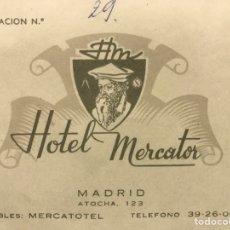 Etiquetas antiguas: HOTEL MERCATOR. MADRID. TARJETA HABITACIÓN. Lote 80280298