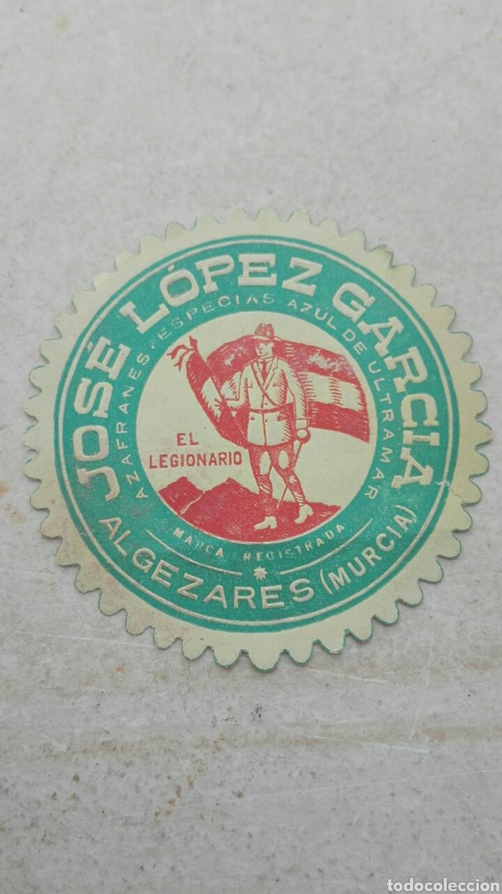 ETIQUETA AZAFRANES JOSÉ LÓPEZ GARCÍA EL LEGIONARIO - ALGEZARES MURCIA (Coleccionismo - Etiquetas)