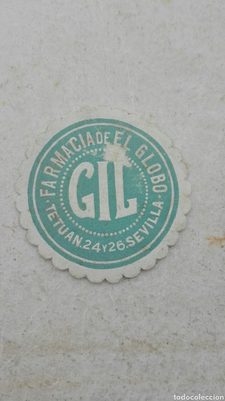 ANTIGUA ETIQUETA FARMACIA DE EL GLOBO GIL - SEVILLA (Coleccionismo - Etiquetas)