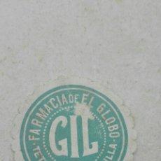 Etiquetas antiguas: ANTIGUA ETIQUETA FARMACIA DE EL GLOBO GIL - SEVILLA. Lote 80370939