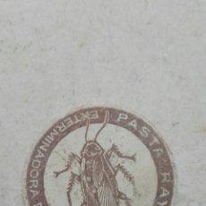 Etiquetas antiguas: ANTIGUA ETIQUETA PASTA RAYO EXTERMINADORA DE CUCARACHAS. Lote 80371830