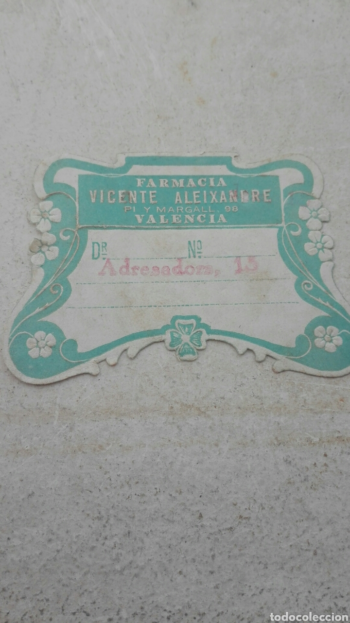 ANTIGUA ETIQUETA FARMACIA VICENTE ALEIXANDRE VALENCIA (Coleccionismo - Etiquetas)