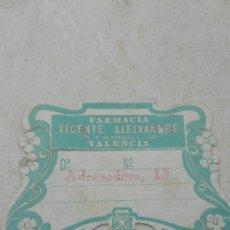 Etiquetas antiguas: ANTIGUA ETIQUETA FARMACIA VICENTE ALEIXANDRE VALENCIA. Lote 80372649