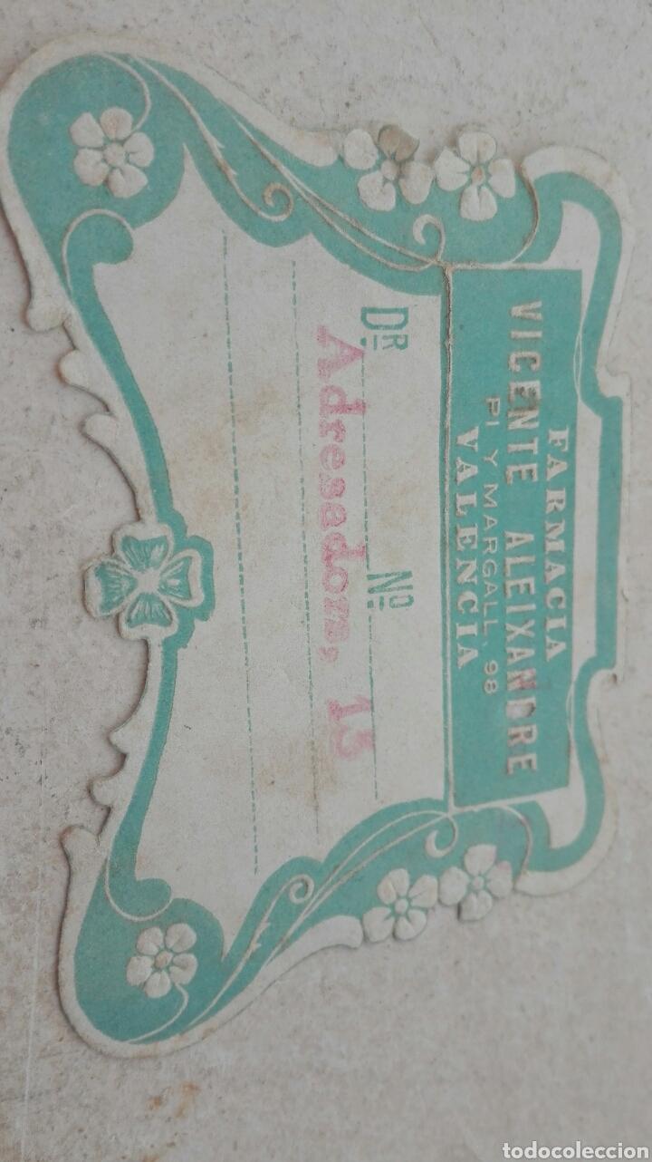 Etiquetas antiguas: Antigua Etiqueta Farmacia Vicente Aleixandre Valencia - Foto 2 - 80372649