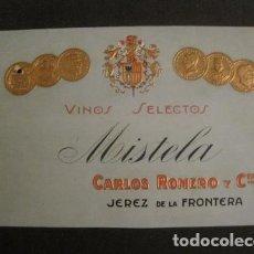 Etiquetas antiguas: ETIQUETA - MISTELA CARLOS ROMERO - JEREZ - VER FOTOS - (V-9974). Lote 80523865