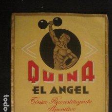 Etiquetas antiguas: ETIQUETA - QUINA -EL ANGEL - MADRID - VER FOTOS - (V-9978). Lote 80524053