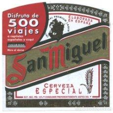 Etiquetas antiguas: CERVEZA SAN MIGUEL (PUBLICIDAD VIAJES IBERIA) - ETIQUETA. Lote 80643282