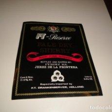 Etiquetas antiguas: ETIQUETA DE VINO PALE DRY SHERRY RESERVE RICH FINE SHERRY J J J CAJA-28. Lote 81226468