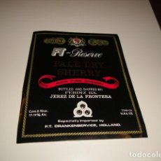 Etiquetas antiguas: ETIQUETA DE VINO PALE DRY SHERRY RESERVE RICH FINE SHERRY K K K CAJA-28. Lote 81226540