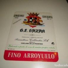Etiquetas antiguas: G.E. BAZAN PRIMITIVO COLLANTES MOSCATEL FINO ARROYUELO ETIQUETA DE VINO CAJA-28. Lote 81236944