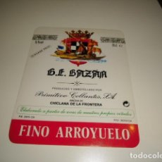 Etiquetas antiguas: 22 2 G.E. BAZAN PRIMITIVO COLLANTES MOSCATEL FINO ARROYUELO ETIQUETA DE VINO CAJA-28. Lote 81237000