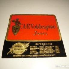 Etiquetas antiguas: A.R. VALDESPINO JEREZ PRIMEROS PREMIOS ETIQUETA DE VINO CAJA-28. Lote 81237840