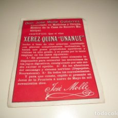 Etiquetas antiguas: XEREZ QUINA UNANUE DON JOSE MOLLE GUTIERREZ ETIQUETA DE VINO CAJA-28. Lote 81238012