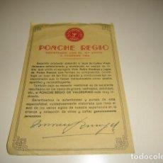 Etiquetas antiguas: A.R. VALDESPINO PONCHE REGIO ETIQUETA DE VINO CAJA-28. Lote 81238124