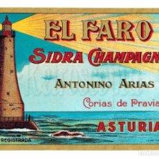 Etiquetas antiguas: ETIQUETA SIDRA CHAMPAGNE EL FARO ANTONINO ARIAS CORIAS DE PRAVIA ASTURIAS. Lote 226134570
