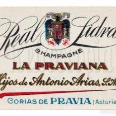 Etiquetas antiguas: ETIQUETA SIDRA LA PRAVIANA HIJOS DE ANTONIO ARIAS CORIAS DE PRAVIA ASTURIAS. Lote 226134902