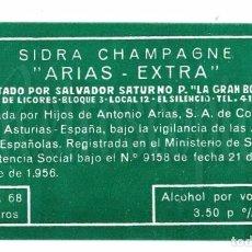 Etiquetas antiguas: ETIQUETA SIDRA ARIAS EXTRA HIJOS DE ANTONIO ARIAS CORIAS DE PRAVIA ASTURIAS 1956. Lote 226135207
