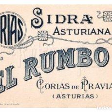Etiquetas antiguas: ETIQUETA SIDRA EL RUMBO HIJOS DE ANTONIO ARIAS CORIAS DE PRAVIA ASTURIAS. Lote 226135327