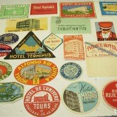 Etiquetas antiguas: LOTE 29 ANTIGUAS ETIQUETAS DE HOTELES, PARA MALETAS, ESPAÑOLAS Y EXTRANJERAS. Lote 83802936