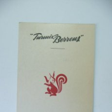 Etiquetas antiguas: TARJETA FICHA DE FABRICACION BATIDORA TURMIX- BERRENS. BARCELONA, AÑOS 50. Lote 84442260
