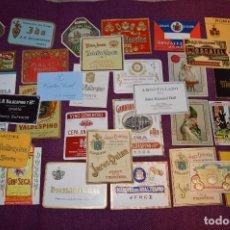 Etiquetas antiguas: ENORME LOTE 34 ETIQUETAS DE VINOS Y LICORES - ANTIGUAS - BUEN ESTADO GENERAL - ¡HAZME OFERTA! - L02. Lote 86232996