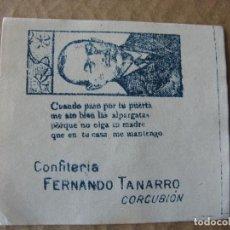 Etiquetas antiguas: ENVOLTURA CONFITERIA FERNANDO TANARRO (VICECONSUL 1920). CORCUBIÓN. A CORUÑA. POESÍA.. Lote 87489428