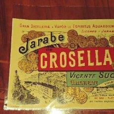 Etiquetas antiguas: ANTIGUA ETIQUETA GRAN DESTILERIA A VAPOR DE ESPIRITUS AGUARDIENTES JARABE GROSELLA VICENTE SUCH. Lote 90717040