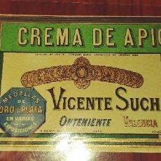 Etiquetas antiguas: ANTIGUA ETIQUETA DE CREMA DE APIO DE VICENTE SUCH ONTENIENTE VALENCIA. Lote 90717265