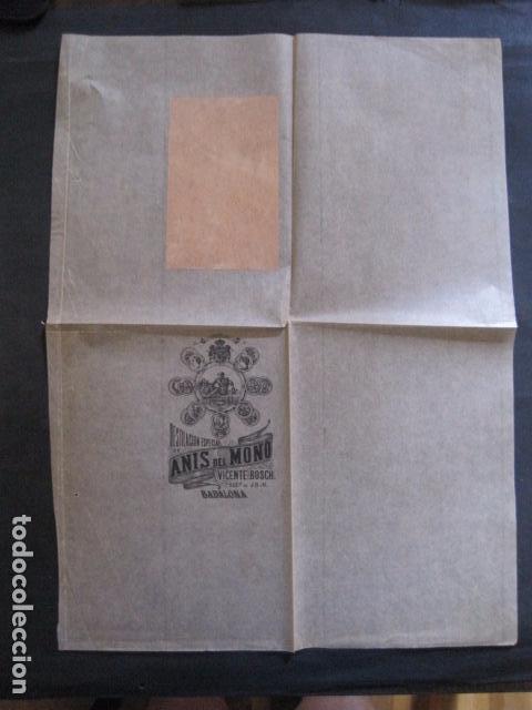 ANIS DEL MONO- VICENTE BOSCH -ENVOLTORIO DE PAPEL PARA BOTELLA -AÑO 1903 -VER FOTOS-(V-11.781) (Coleccionismo - Etiquetas)