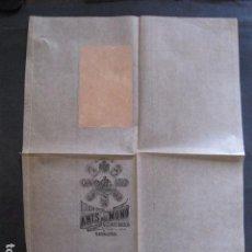 Etiquetas antiguas: ANIS DEL MONO- VICENTE BOSCH -ENVOLTORIO DE PAPEL PARA BOTELLA -AÑO 1903 -VER FOTOS-(V-11.781). Lote 91137930