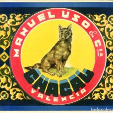 Etiquetas antiguas: ETIQUETA DE NARANJAS CHACAL 280X235 MM.. Lote 92057725