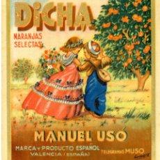 Etiquetas antiguas: ETIQUETA DE NARANJAS DICHA 225X260 MM.. Lote 92132145