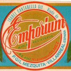Etiquetas antiguas: ETIQUETA DE NARANJAS EMPORIUM DE VILLARREAL 240X90 MM.. Lote 92211290