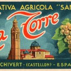 Etiquetas antiguas: ETIQUETA LA TORRE 235X100MM.. Lote 92241975