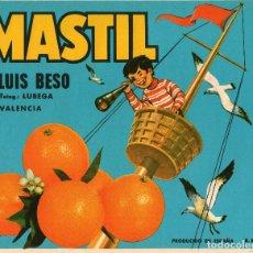 Etiquetas antiguas: ETIQUETA DE NARANJAS MASTIL 250X202 MM.. Lote 92319005