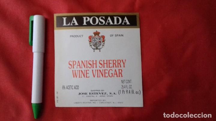 ETIQUETA LA POSADA. ISPANISH SHERRY WINE VINEGAR . JOSE ESTEVEZ. JEREZ. (Coleccionismo - Etiquetas)