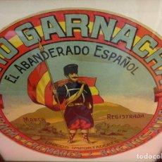 Etiquetas antiguas: VINO GARNACHA EL ABANDERADO ESPAÑOL. ETIQUETA LITOGRÁFICA ORGINAL. 26 CTMS. DIÁMETRO. Lote 94006765