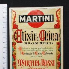 Etiquetas antiguas: MUY RARA ETIQUETA ELIXIR DI CHINA AROMATICO, MARTINI ROSSI. Lote 94216580