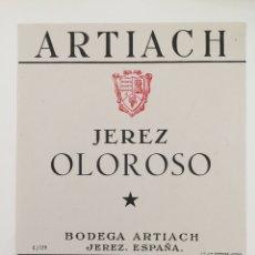 Etiquetas antigas: ETIQUETA DE VINO ARTIACH - JEREZ OLOROSO - BODEGAS ARTIACH - JEREZ. Lote 94487015