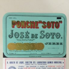 Etiquetas antiguas: ETIQUETA DE LICOR PONCHE SOTO - BODEGAS JOSÉ DE SOTO - JEREZ XÉRÈS SHERRY. Lote 94686654