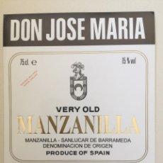 Etiquetas antiguas: ETIQUETA DE VINO DON JOSE MARIA - MANZANILLA - BODEGAS JOSÉ DE SOTO - JEREZ XÉRÈS SHERRY. Lote 94727302